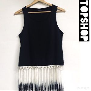 Topshop black and white fringe crop top